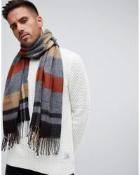 River Island - Check Blanket Scarf In Camel - Lyst