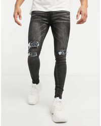 Good For Nothing Skinny Jeans With Ripped Paisley Bandana Knees - Grey