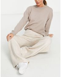 Pimkie Knitted Wide Leg Trousers Triset - Natural