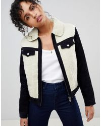 Pepe Jeans - Hollie Western Contrast Cord And Shearling Jacket - Lyst