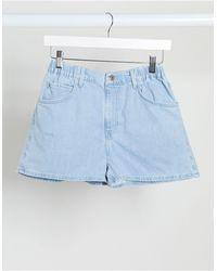 TOPSHOP Pantalones vaqueros cortos sin cierres con lavado descolorido - Azul