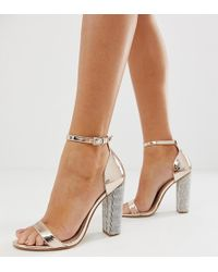 ASOS - Highball Barely There Block Heeled Sandals With Diamante Heel - Lyst