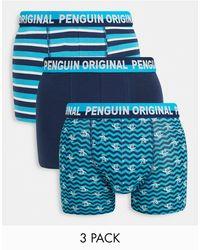 Original Penguin Набор Из 3 Боксеров Синего Цвета С Принтом «зигзаг» Tall-голубой - Синий