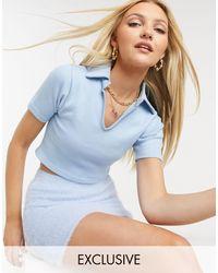 Daisy Street Polo côtelé court - pastel - Bleu