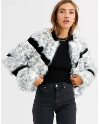 Urbancode Faux Fur Mix Coat - White
