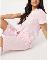 Lauren by Ralph Lauren Pyjama rayé avec col à encoche et bermuda - Rose