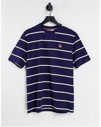 Fila T-shirt a righe con logo - Blu