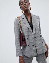 Warehouse - Double Breasted Check Blazer In Grey - Lyst