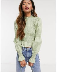 Monki Maya Shirred Cotton Blouse - Green