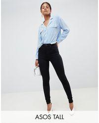 ASOS Asos Design Tall 'sculpt Me' High Waisted Premium Jeans - Black