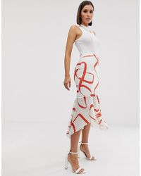 ASOS Abstract Print Midi Pencil Skirt With Fishtail Hem - Red