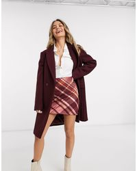 Oasis Double Breasted Straight Coat - Red