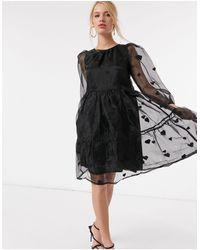 Y.A.S Ярусное Свободное Платье Из Черной Органзы С Принтом В Виде Сердца -черный