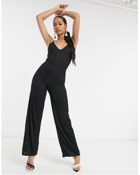 I Saw It First Ribbed Wide Leg Jumpsuit - Black