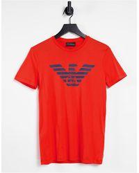 Emporio Armani - Красная Футболка С Логотипом В Виде Орла На Груди -красный - Lyst
