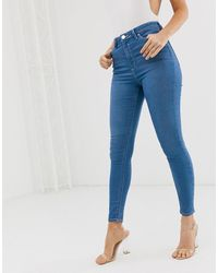 ASOS Ridley High Waisted Skinny Jeans With Raw Hem - Blue