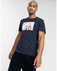 Jack & Jones Originals - Kertmis - T-shirt Met Kerstmanprint - Blauw