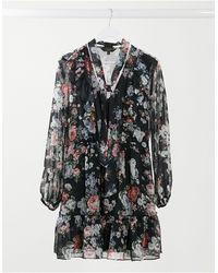 Lipsy Короткое Расклешенное Платье С Цветочным Принтом -многоцветный - Черный