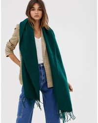 ASOS Supersoft Long Woven Scarf With Tassels - Green