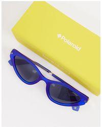 Polaroid Овальные Солнцезащитные Очки В Золотистой Оправе С Синими Стеклами X Love Island-золотистый - Синий