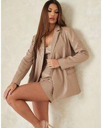 Missguided Co-ord Faux Leather Longline Blazer - Purple