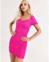 River Island - Vestitino arricciato rosa con maniche a sbuffo - Lyst