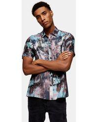TOPMAN Digital Abstract Paint Print Slim Shirt - Multicolour