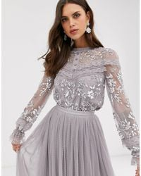 Needle & Thread Embroidered Blouse With Button Detail And Sheer Sleeves - Grey