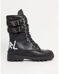 Karl Lagerfeld Черные Высокие Ботинки С Пряжкой На Массивной Подошве -черный Цвет