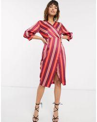 Closet Closet Puff Sleeve Wrap Dress-multi - Red