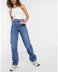 Weekday Skew Straight Leg Jeans With Cross Over Fly - Blue
