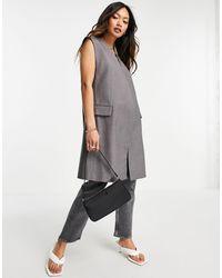 Mango Sleeveless Long Blazer - Gray