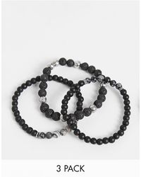 ASOS - Beaded Bracelet Pack With Black Agate Stones - Lyst