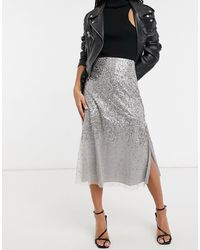 French Connection Sequin Midi Skirt - Grey