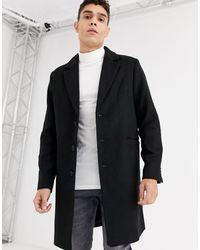ASOS Wool Mix Overcoat - Black