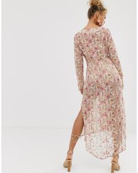Never Fully Dressed Sheer Floral Print Shirt Dress - Pink