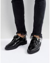 T.U.K. Leather Buckle Pointed Shoes - Black