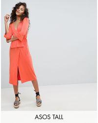 ASOS Asos Design Tall Midi Wrap Dress - Multicolor