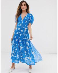 RahiCali Rahi Garden Cassie Floral Puff Sleeve Midi Dress - Blue