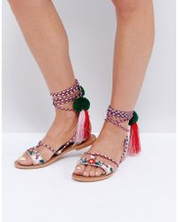 Glamorous - Multi Pom And Tassel Tie Up Flat Sandals - Lyst