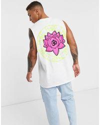 Honour HNR LDN - T-shirt oversize sans manches avec imprimé lotus au dos - Blanc