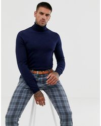 ASOS Merino Wool Roll Neck Sweater In Navy - Blue