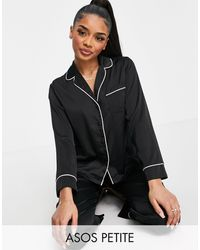 ASOS Asos Design Petite Satin Long Sleeve Shirt & Trouser Pyjama Set - Black
