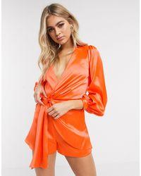 ASOS Knot Front Satin Playsuit - Orange