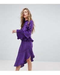 Miss Selfridge Asymetric Ruffle Dress - Purple