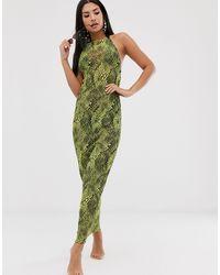 ASOS Lange Strandjurk Van Jersey-mesh Met Gedrapeerde Halslijn, Gestrikt Touwtje En Reptielenprint - Groen