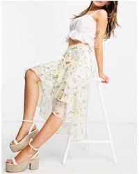 Forever New Tie Waist High Low Ruffle Hem Midi Skirt Co-ord - Yellow