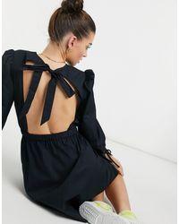ALIGNE Organic Cotton Mini Smock Dress With Open Tie Back Detail - Black