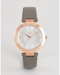 DKNY Ny2296 Ladies Gray Leather Watch With White Dial