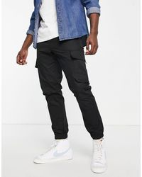 TOPMAN Skinny Cargo Trousers - Black